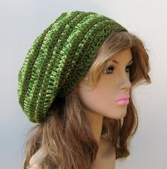 Rain forest wool tam green slouchy beanie by PurpleSageDesignz, $23.00