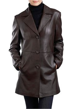 Do you need a jacket you can wear to the Holiday parties coming up? This brown BGSD Women's Lambskin Leather Coat is very versatile and can be worn with dresses or pants.  Match the coat up with some brown leather boats and you'll be styling.  $199.99 http://www.luxurylane.com/426-199811-brn.html
