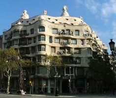 La Pedrera    also known as Casa Mila, designed by famed architect Antoni Gaudi; Barcelona, Spain
