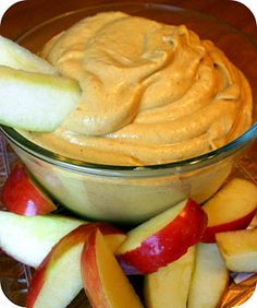 This pumpkin pie dip sounds DE-licious! 1/2 cup = 100 calories. Eat it with apple slices or graham crackers