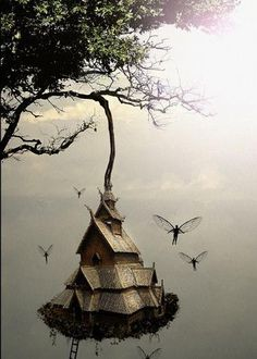Tree House...#fairies #faeries #fantasy #art