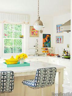 Popular da cozinha e pintura de gabinete Cores - Colorful Kitchen Fotos - House Beautiful