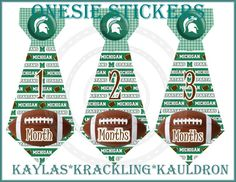 13 Football Michigan State Spartans Monthly stickers  by KracklingKauldron, $9.99