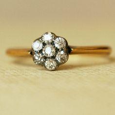 Antique Victorian .25ct Diamond Flower Ring, Vintage 18k Gold Wedding Ring, US 6.75 $288.00