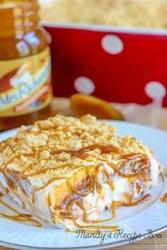 Pumpkin Heavenly Oreo Dessert (Mandy's Recipe Box). Ingredients: golden oreos, butter, pumpkin spice instant pudding, milk, cool whip, cream cheese, powdered sugar, caramel topping