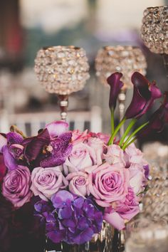 Purple and Chic Centerpieces Idea | Photography: Floataway Studios, Floral Design + Decor: Sky Events & Productions