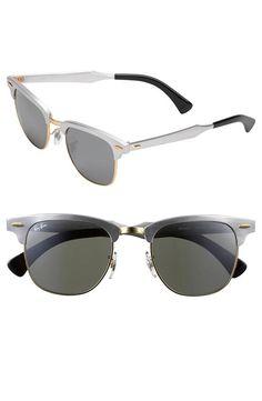Classic, Ray-Ban 'Clubmaster' Silver Sunglasses