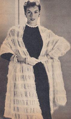Vintage Angora Striped Lace Stole Knitting Pattern