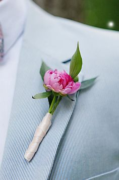 Choose a small pink peony for a sweet summer boutonniere.