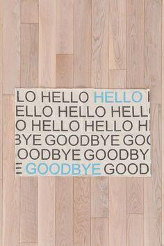 Hello Goodbye Rug #rugs #trendy #welcomemat