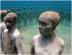 """The """"Underwater Sculpture Gallery"""" in Grenada, West indies is a project started in May 2006 by sculptor Jason Taylor, with the support of the Grenadian Ministry of Tourism and Culture.  This is a unique artistic enterprise, celebrating Caribbean culture and highlighting environmental processes, such as coral reef regeneration."""