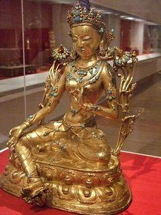 Buddhist goddess Syamatara Tibet 15th century CE Gilt Copper Alloy and Turquoise