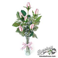 Baseball Rose™ Home Run Bouquet Vase Arrangement