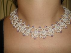 Bridal Set Tatting necklace bracelet by georgetatatted, $40.00