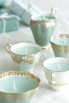 aqua and gold teacups... beautiful