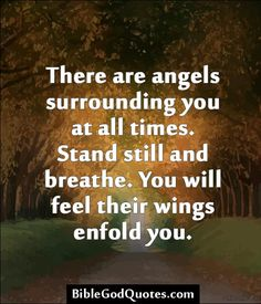 ✞ ✟ BibleGodQuotes.com ✟ ✞  There are angels surrounding you at all times. Stand still and breathe. You will feel their wings enfold you.