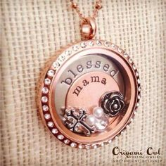 Blessed Mama Origami Owl Living Locket with plates and charms.  The perfect Mother's Day gift!