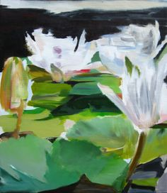 "{L Verkler; Acrylic, Painting ""Water Lillies""}"