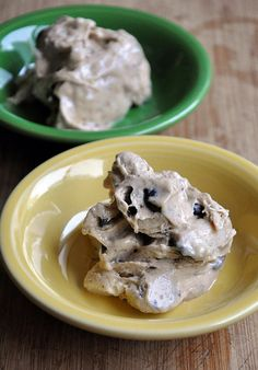Frozen Banana 'Ice Cream' - put frozen bananas, peanut butter and chocolate chips in the food processor and voila! Ice cream! It's delicious.