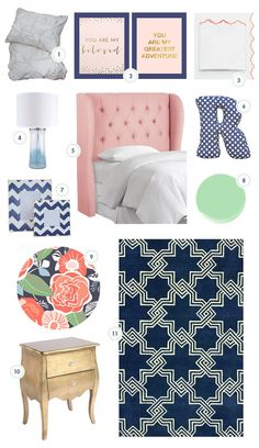 So much i adore about this Moodboard for Little Girl Room. Navy and pink nursery big girl room