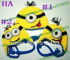 Free shipping,Minion hat crochet pattern despicable me Beanie Handmade Crochet Baby/girls/boys Hat $8.50