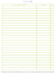 The Nest Effect: Free Printables - Honey Do list