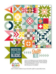 Moda's modern building block pattern and kits in stores now.