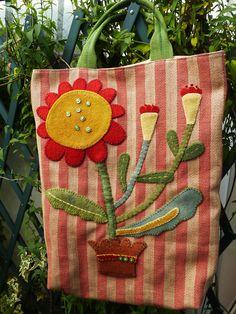 pillow, appliqued bag, purs, wool applique, backgrounds