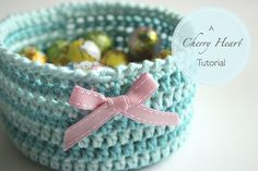 Cherry Heart: Crochet Basket Tutorial