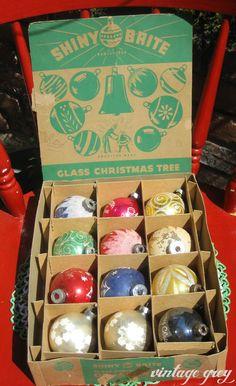 Vintage Christmas Ornaments ~ Box of Shiny Brite Glass Balls
