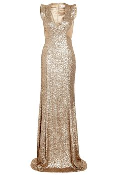 Antique Gold Ursula Sequin Fishtail Maxi Dress