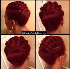 Front flat twists updo on natural hair. #officiallynatural