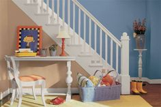 Glidden's French Country Blue gives depth to a well-used stairway and entry. | Photo: Courtesy of Glidden | thisoldhouse.com decor, chips, color palett, idea, paint color, mobil, colors, hous, glidden