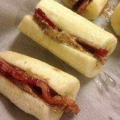 Paleo snack Banana, almond butter, bacon!