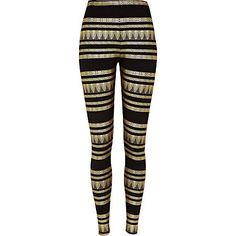 Black aztec foil print leggings - leggings - trousers / leggings - women