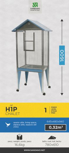 "#Voliera per uccelli • Bird's #aviary"" • #Voliere pour les oiseaux • #Pajarera para aves ----- Chalet (H1P), MADE IN ITALY"