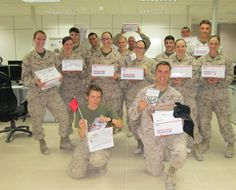 """""""Greetings from Camp Leatherneck, Helmand Province! This is a picture of our Marines receiving their packages from your organization. As you can see by the smiles on their faces, you made their day…especially with their own copy of 'Skyfall'! Thank you very much for your thoughtful gesture. The Marines you see work on a watch floor, supporting Marines out in the hinterlands, fighting the good fight. Thanks, again, for your thoughtfulness. It is much appreciated. Semper Fidelis, Captain D.S."""""""