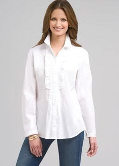I LOVE this kind of shirt with structure, but forgiving flare at the bottom for extra curves.