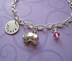 custom elephant charm bracelet with name charm & birthstone