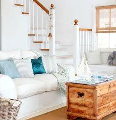 Soft Blue & White Beach Decor Ideas with nautical accents: http://beachblissliving.com/beach-decor-design-ideas-living-rooms/
