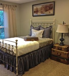 Vintage Antique Full Size Wrought Iron Bed Brass by DesignWithUs, $898.00