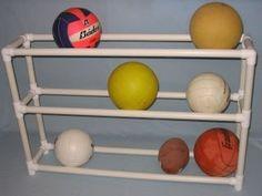 PVC Garage Organizer - for all those balls & pool toys.