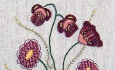 Jacobean Flower Wool Applique, Hand Embroidery / Pattern / Jac 025
