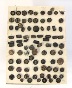 ButtonArtMuseum.com - Antique Carded 19th Century 1800'S 85 Black Glass W Gold Luster Buttons YQZ