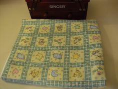Rabbit, Sheep, Duck,  Star, Moon, Flower, Teddy Bear, Heart Character  Print 100% Cotton Flannel Material 1 yard Green, Blue, Pink, Yellow. $6.00, via Etsy.