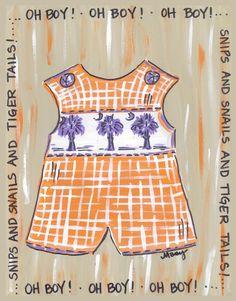 Orange and Purple Baby Boy Print #Clemson #ClemsonTigers #ClemsonUniversity #Tigers #CU