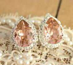 Pink Crystal big teardrop stud earring  Silver plated by iloniti, $43.00