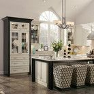 This KraftMaid kitchen is all me. Love black and white