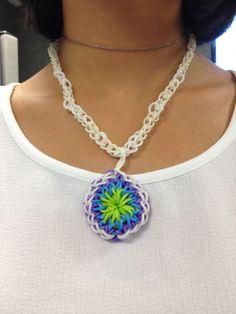 A Bandaloom pendant necklace! #rubberbands #loom #diy #citrus