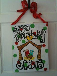 craft painting, birthday jesus, front door decor, happy birthdays, painting art